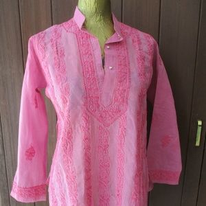 Vtg Pink Indian Embroidery Tunic S